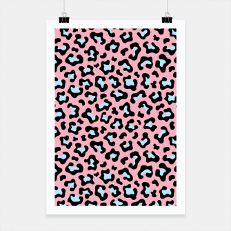 Thumbnail image of Leopard fur texture pattern: pink and blue background. Poster, Live Heroes