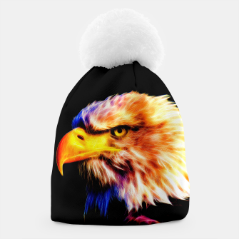 Thumbnail image of bald eagle 03 neon lines meteor Beanie, Live Heroes