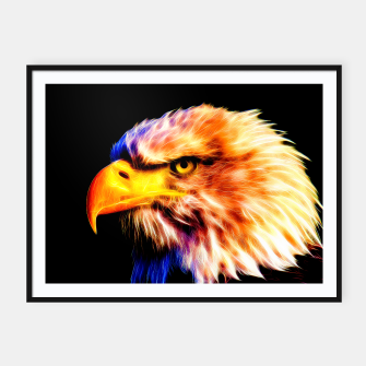 Thumbnail image of bald eagle 03 neon lines meteor Framed poster, Live Heroes