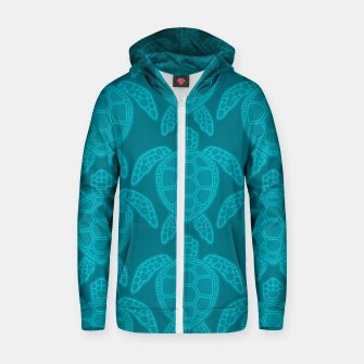 Miniatur Sea Turtle Pattern Teal Zip up hoodie, Live Heroes