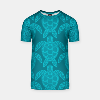 Thumbnail image of Sea Turtle Pattern Teal T-shirt, Live Heroes