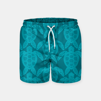 Miniatur Sea Turtle Pattern Teal Swim Shorts, Live Heroes