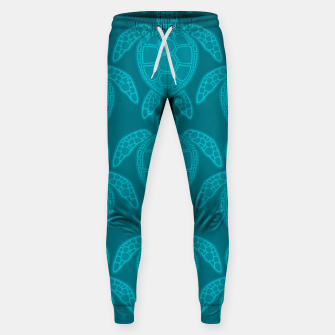 Miniatur Sea Turtle Pattern Teal Sweatpants, Live Heroes