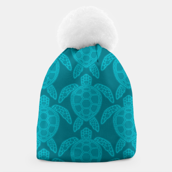 Thumbnail image of Sea Turtle Pattern Teal Beanie, Live Heroes