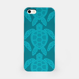 Miniatur Sea Turtle Pattern Teal iPhone Case, Live Heroes