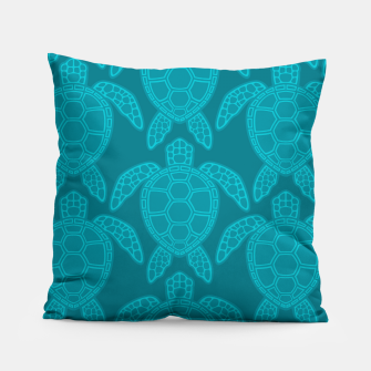 Thumbnail image of Sea Turtle Pattern Teal Pillow, Live Heroes