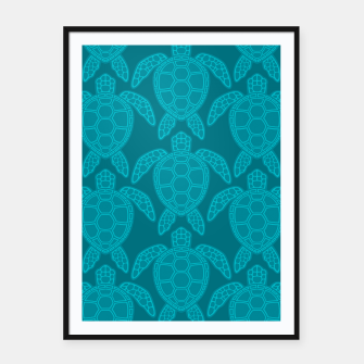 Miniatur Sea Turtle Pattern Teal Framed poster, Live Heroes