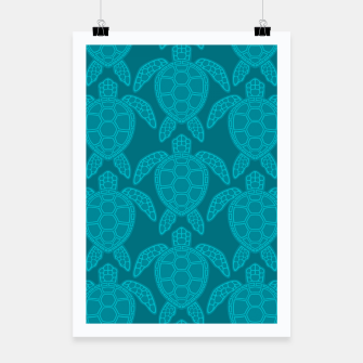 Thumbnail image of Sea Turtle Pattern Teal Poster, Live Heroes