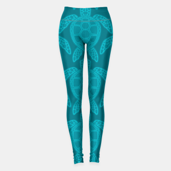 Miniatur Sea Turtle Pattern Teal Leggings, Live Heroes