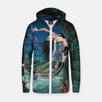 Thumbnail image of Wonderful mermaid in the deep ocean Zip up hoodie, Live Heroes