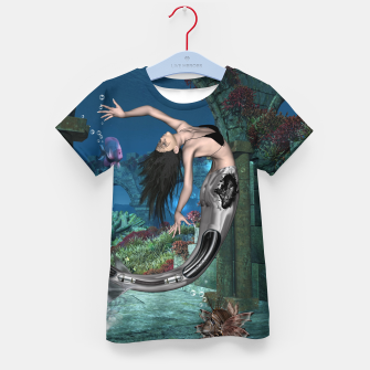 Thumbnail image of Wonderful mermaid in the deep ocean Kid's t-shirt, Live Heroes
