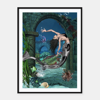 Thumbnail image of Wonderful mermaid in the deep ocean Framed poster, Live Heroes