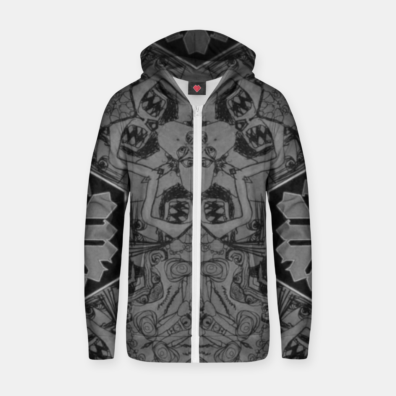 Image of vintage comics - lines neo-gothic, mouth, monster, pulp Zip up hoodie - Live Heroes