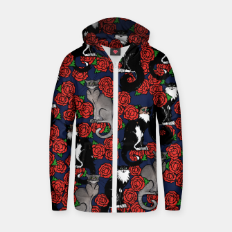 Cats and Roses Le Chat Noir Calico Zip up hoodie thumbnail image