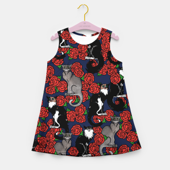 Cats and Roses Le Chat Noir Calico Girl's summer dress thumbnail image
