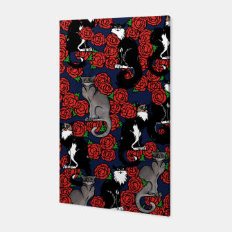 Cats and Roses Le Chat Noir Calico Canvas thumbnail image