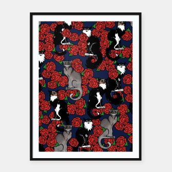 Cats and Roses Le Chat Noir Calico Framed poster thumbnail image