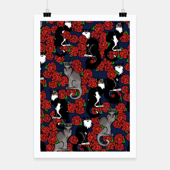 Cats and Roses Le Chat Noir Calico Poster thumbnail image