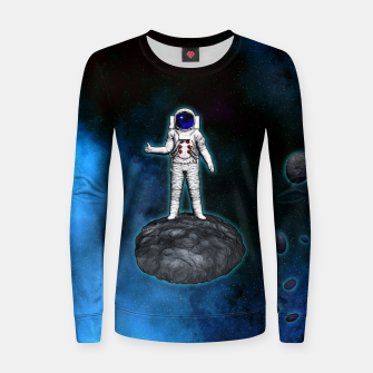 Thumbnail image of Cosmic Hitchhiker Astronaut Illustration Frauen sweatshirt, Live Heroes