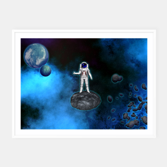Thumbnail image of Cosmic Hitchhiker Astronaut Illustration Plakat mit rahmen, Live Heroes