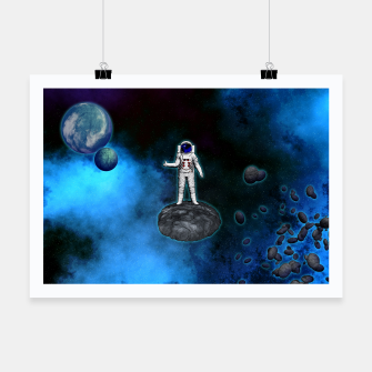 Thumbnail image of Cosmic Hitchhiker Astronaut Illustration Plakat, Live Heroes