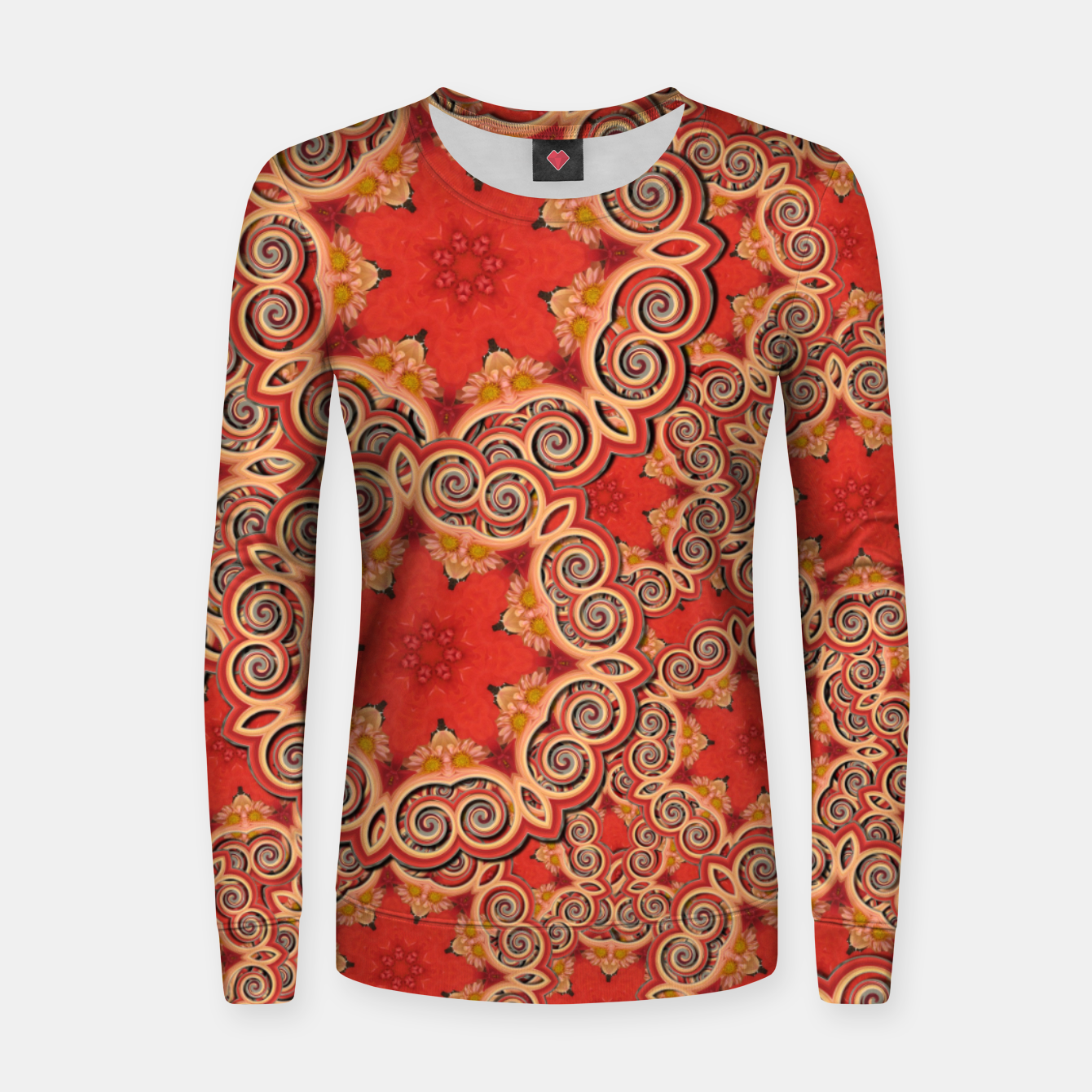 Image of Gold 'n Rusty Curls Abstract  Women sweater - Live Heroes