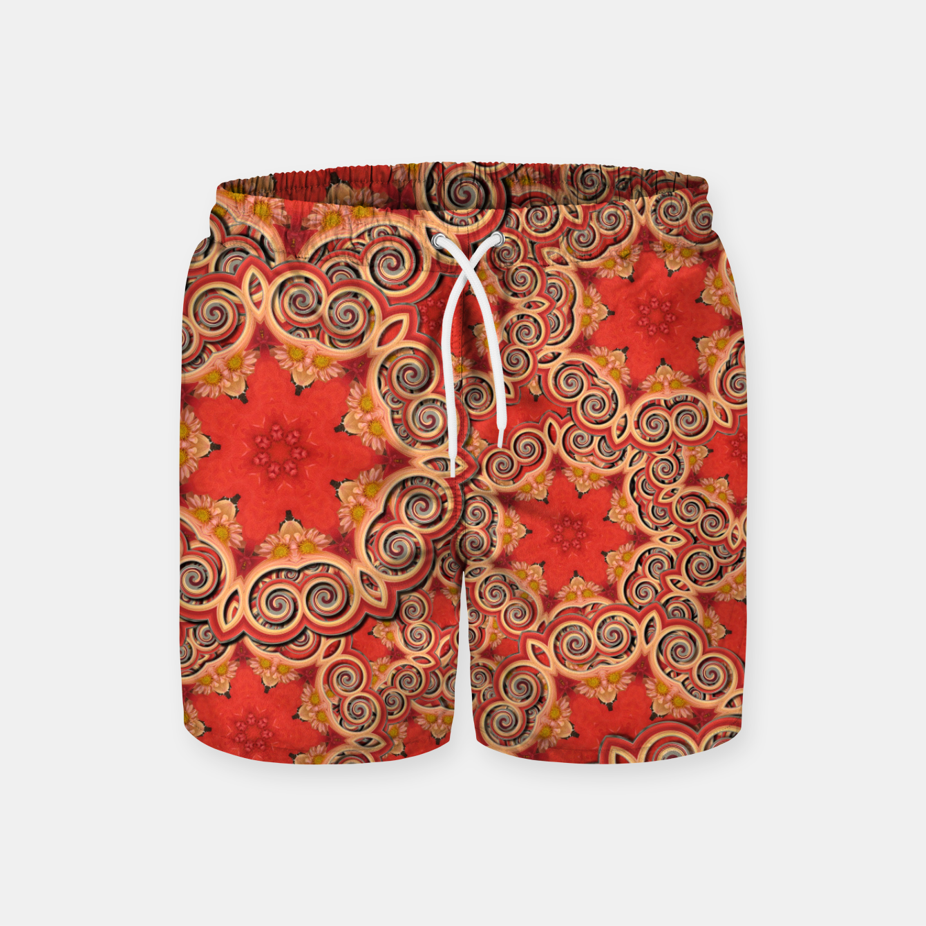 Image of Gold 'n Rusty Curls Abstract  Swim Shorts - Live Heroes