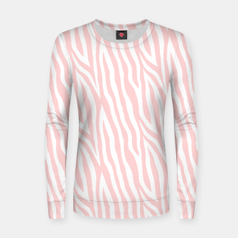 Pale pink zebra fur pattern 04 Women sweater Bild der Miniatur
