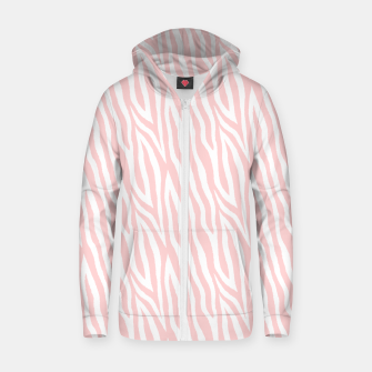 Pale pink zebra fur pattern 04 Zip up hoodie Bild der Miniatur