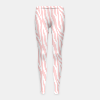Pale pink zebra fur pattern 04 Girl's leggings Bild der Miniatur