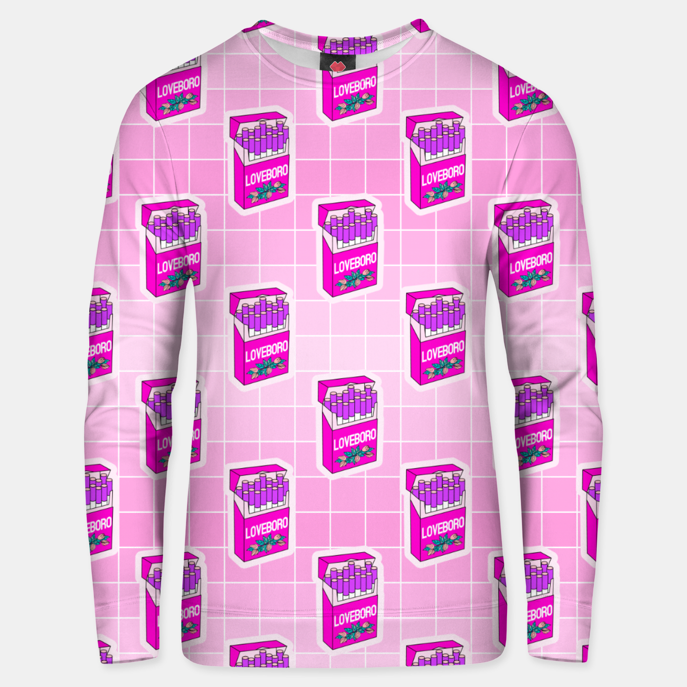 Foto Loveboro cigarette packs pattern / girly stickers / pink grid Unisex sweater - Live Heroes