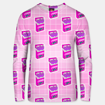 Loveboro cigarette packs pattern / girly stickers / pink grid Unisex sweater Bild der Miniatur