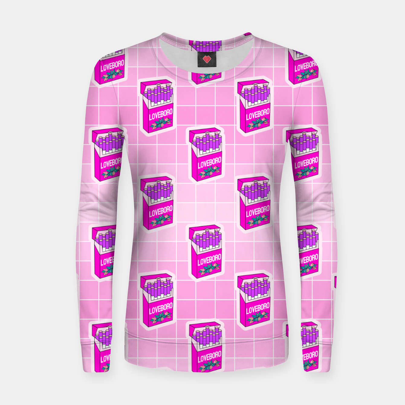 Foto Loveboro cigarette packs pattern / girly stickers / pink grid Women sweater - Live Heroes