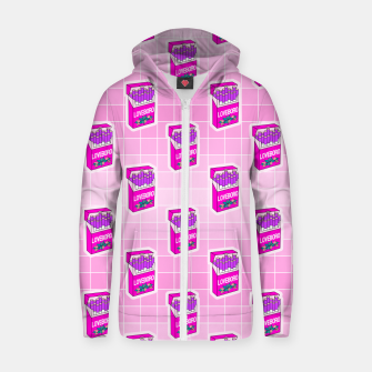 Loveboro cigarette packs pattern / girly stickers / pink grid Zip up hoodie Bild der Miniatur