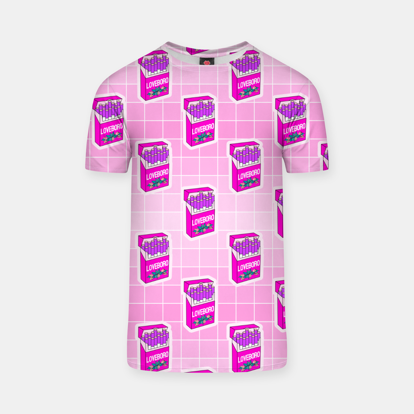 Foto Loveboro cigarette packs pattern / girly stickers / pink grid T-shirt - Live Heroes
