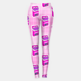 Loveboro cigarette packs pattern / girly stickers / pink grid Leggings Bild der Miniatur