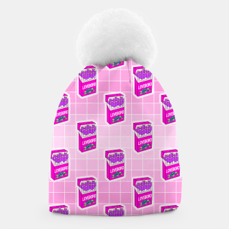 Loveboro cigarette packs pattern / girly stickers / pink grid Beanie Bild der Miniatur