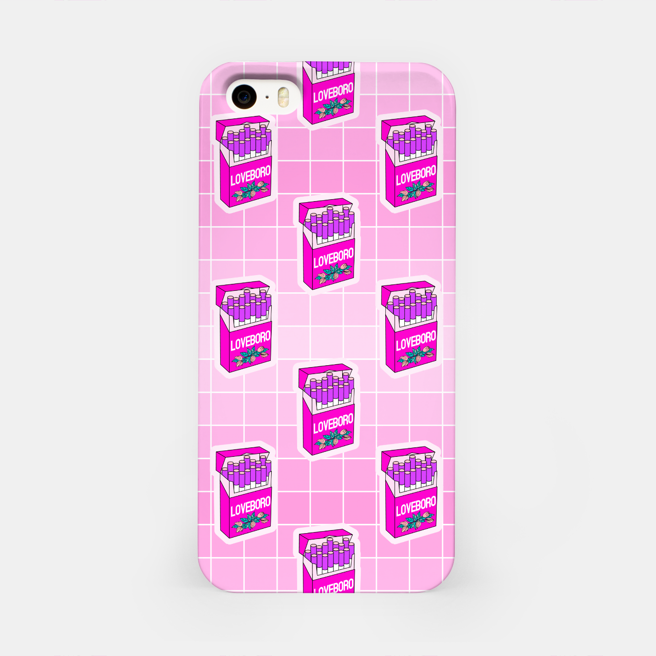 Foto Loveboro cigarette packs pattern / girly stickers / pink grid iPhone Case - Live Heroes