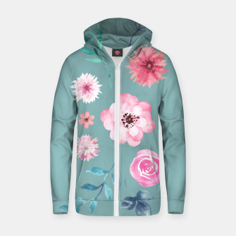 Thumbnail image of Watercolor Flowers on Limpet Shell Marble Zip up hoodie, Live Heroes