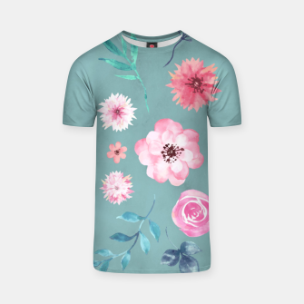 Thumbnail image of Watercolor Flowers on Limpet Shell Marble T-shirt, Live Heroes
