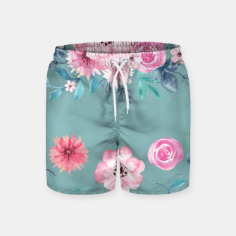 Thumbnail image of Watercolor Flowers on Limpet Shell Marble Swim Shorts, Live Heroes