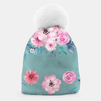Thumbnail image of Watercolor Flowers on Limpet Shell Marble Beanie, Live Heroes