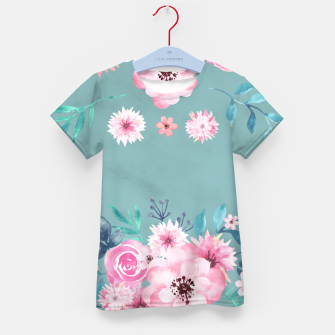 Thumbnail image of Watercolor Flowers on Limpet Shell Marble Kid's t-shirt, Live Heroes