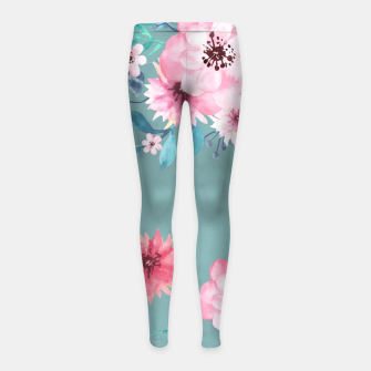 Thumbnail image of Watercolor Flowers on Limpet Shell Marble Girl's leggings, Live Heroes