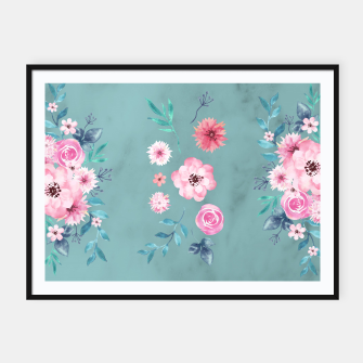 Thumbnail image of Watercolor Flowers on Limpet Shell Marble Framed poster, Live Heroes
