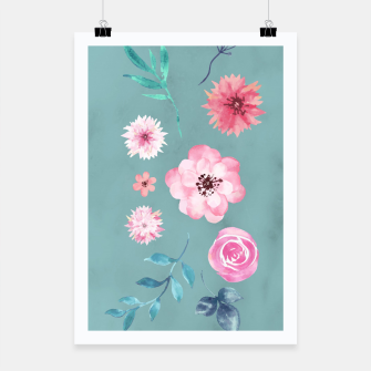 Thumbnail image of Watercolor Flowers on Limpet Shell Marble Poster, Live Heroes