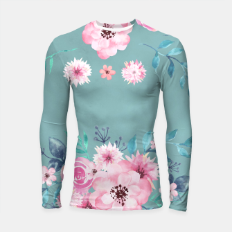 Thumbnail image of Watercolor Flowers on Limpet Shell Marble Longsleeve rashguard , Live Heroes