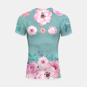 Thumbnail image of Watercolor Flowers on Limpet Shell Marble Shortsleeve rashguard, Live Heroes