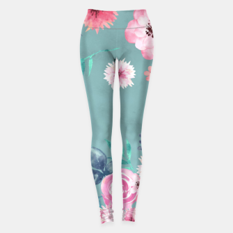 Thumbnail image of Watercolor Flowers on Limpet Shell Marble Leggings, Live Heroes