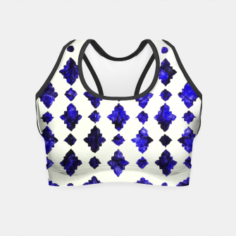 Thumbnail image of Royal Blue Traditional Moroccan Arabic Geometric Artwork Crop Top, Live Heroes